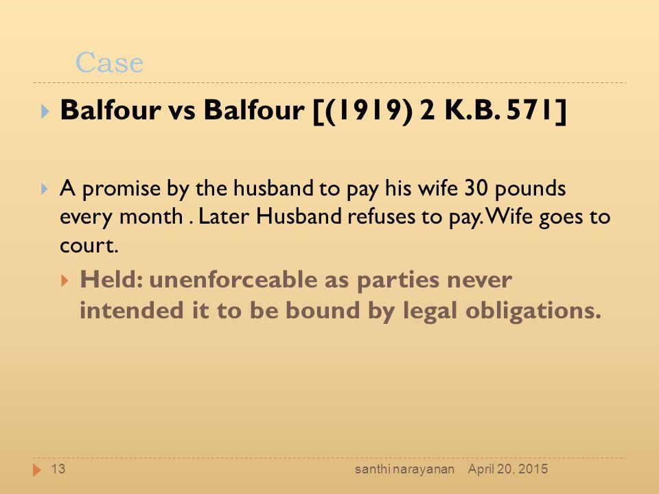 Balfour vs Balfour [(1919) 2 K.B. 571]